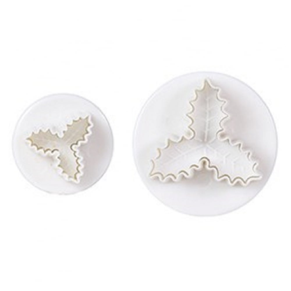 View the **PROMO** Triple Holly Leaf 2 piece plunger icing cutter set online at Cake Stuff