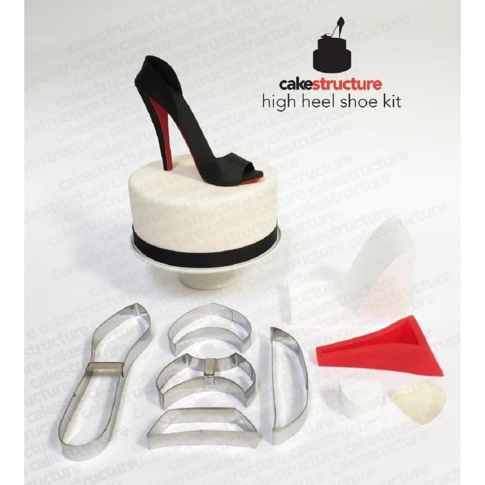 View the Deluxe 3D High Heel Shoe fondant icing cutter, mould & former set online at Cake Stuff