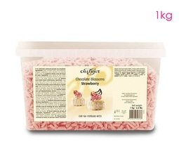 View the 1kg finest Belgian STRAWBERRY PINK chocolate blossoms / curls online at Cake Stuff
