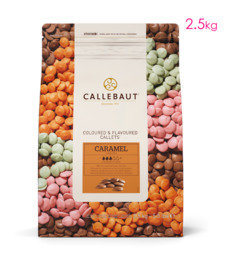 View the 2.5kg Caramel Flavour finest Belgian couverture chocolate callets chips online at Cake Stuff