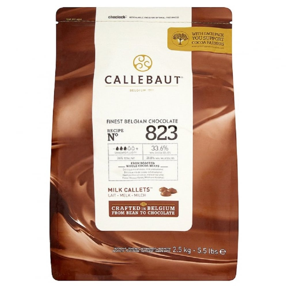 View the 2.5kg Finest Belgian MILK chocolate callets chips - no. 823 online at Cake Stuff