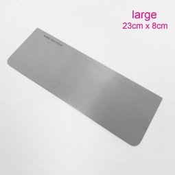 View the large stainless steel icing / ganache scraper - 23cm x 8cm online at Cake Stuff