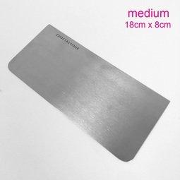 View the medium stainless steel icing / ganache scraper - 18cm x 8cm online at Cake Stuff