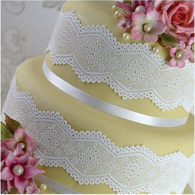 View the BRODERIE ANGLAISE cake / edible lace silicone tool mat online at Cake Stuff
