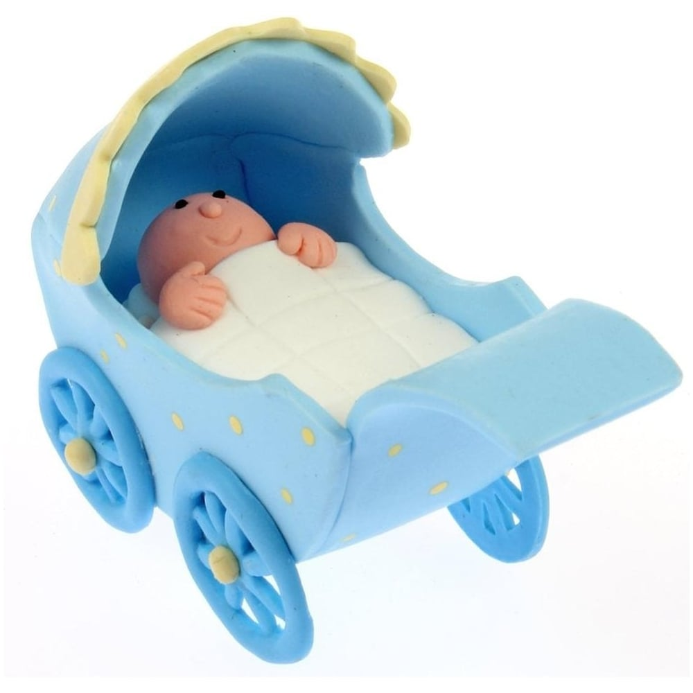 View the **CLEARANCE** box 4 x  BLUE PRAM claydough cake topper decorations online at Cake Stuff