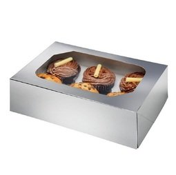 View the SILVER cupcake box & insert - hold 6 online at Cake Stuff