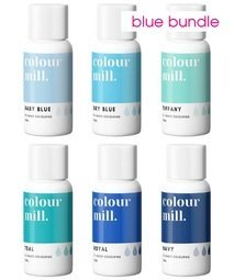 View the 6 BLUE COLOURS oil based concentrated icing colouring 20ml online at Cake Stuff