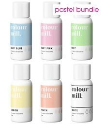 View the 6 PASTEL COLOURS oil based concentrated icing colouring 20ml online at Cake Stuff
