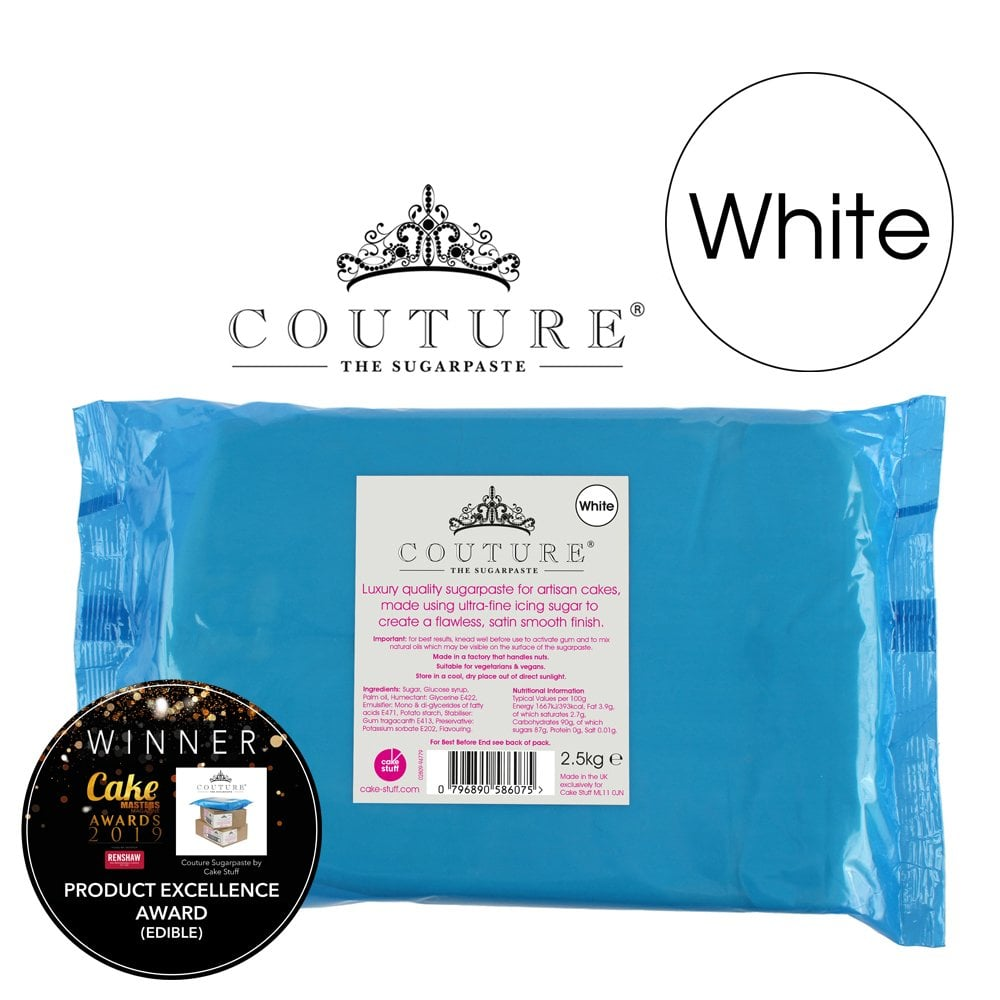 View the 2.5kg / 5½lb WHITE luxury sugarpaste ready to roll fondant icing online at Cake Stuff