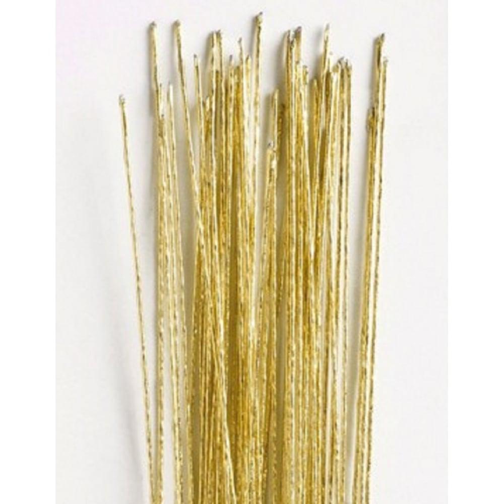 View the 24 gauge GOLD metallic sugarcraft floristry wire - pk 50 online at Cake Stuff