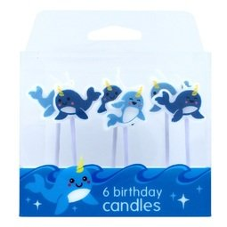 View the NARWHAL 6 pc cake pick candle set online at Cake Stuff
