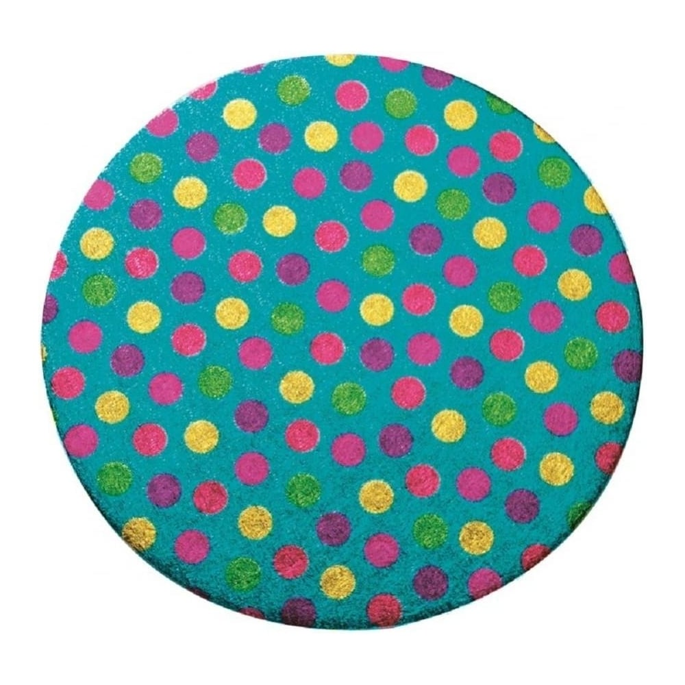 """View the pack 5 x 10"""" POLKA DOT pattern round double thick cake boards / cards online at Cake Stuff"""