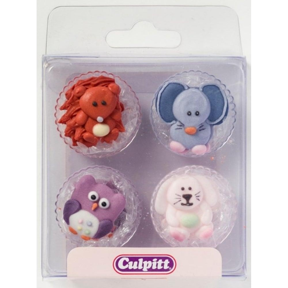 View the pk 12 BABY ANIMALS edible icing pipings cake cupcake decorations online at Cake Stuff