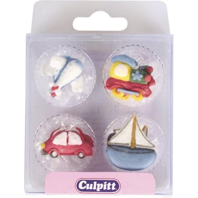View the pk 12 TRANSPORT edible icing pipings cake cupcake decorations online at Cake Stuff
