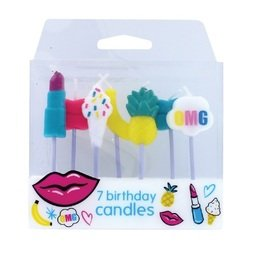 View the TUTTI FRUTTI 7 pc cake pick candle set online at Cake Stuff