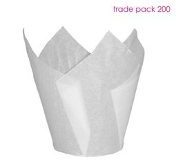View the WHITE tulip cupcake baking cases - pack 200 online at Cake Stuff