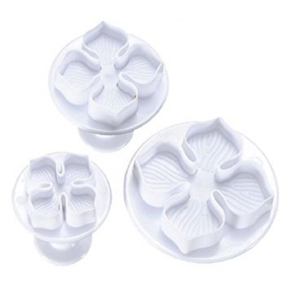 View the **CLEARANCE** 4 petal Hydrangea / Laurustinus 3 piece plunger icing cutter set online at Cake Stuff