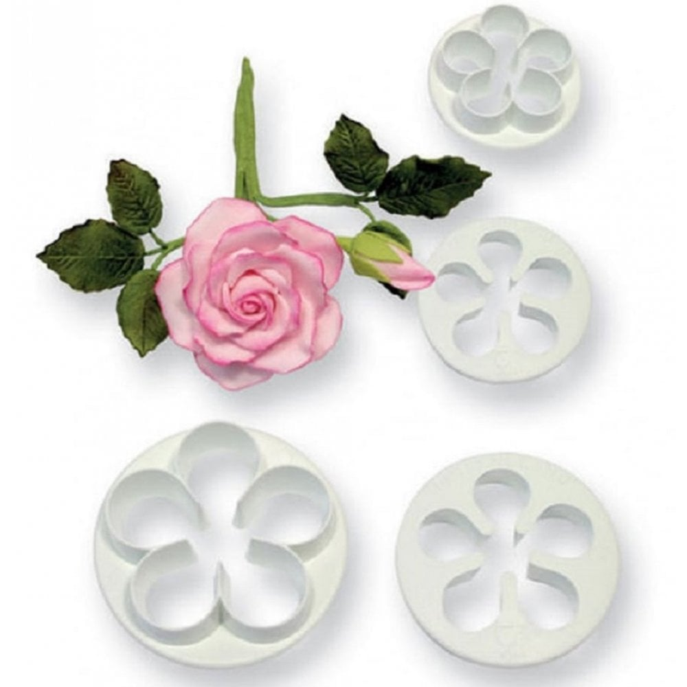 View the **CLEARANCE** 4 piece 5-petal blossom icing cutter set online at Cake Stuff
