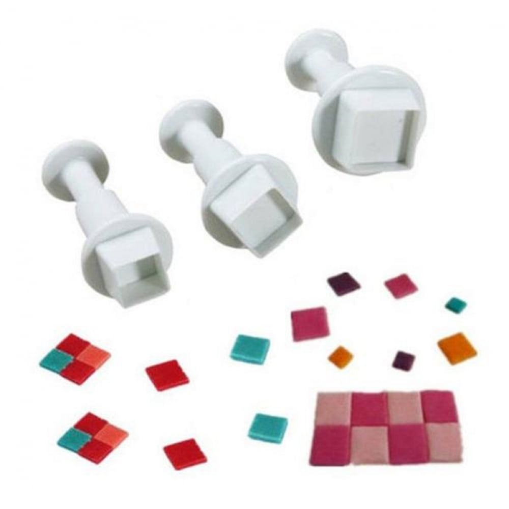 View the *CLEARANCE* mini SQUARE 3 piece icing plunger cutter set online at Cake Stuff