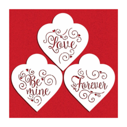 View the LOVE, BE MINE, FOREVER cookie/cake icing stencil set online at Cake Stuff
