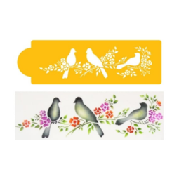 View the LOVE BIRDS cake side icing stencil online at Cake Stuff