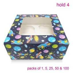 View the BLUE SPACESHIP cupcake boxes & inserts - hold 4 online at Cake Stuff