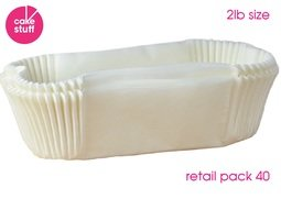 View the pack 40 x 2lb Loaf Tin Liners siliconised greaseproof paper online at Cake Stuff