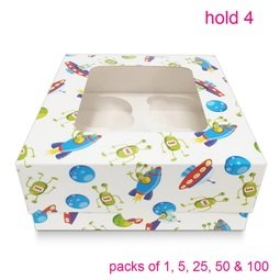 View the WHITE SPACESHIP cupcake boxes & inserts - hold 4 online at Cake Stuff