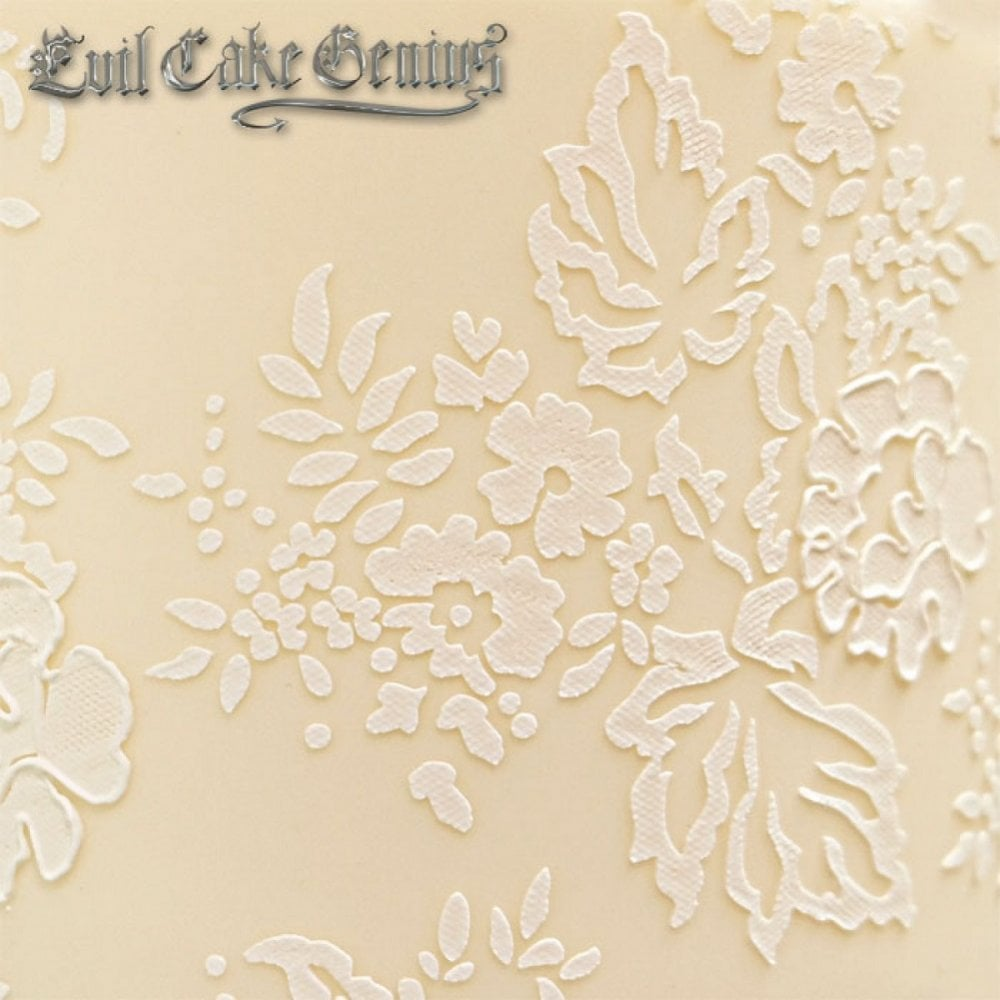 View the Chantilly Lace Leaf Shortened professional cake stencil #4SH online at Cake Stuff