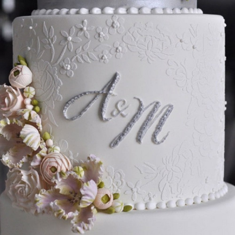 View the Embroidered Lace Mix & Match Monogram double barrel cake stencil set #8DB by Julie Deffense online at Cake Stuff