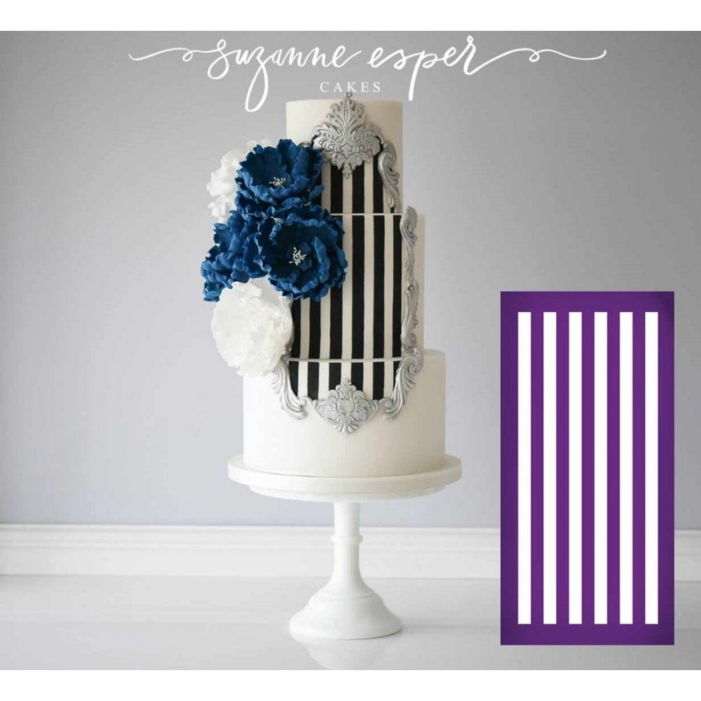 View the Horizontal Stripe Half Inch - professional mesh cake stencil #5 online at Cake Stuff
