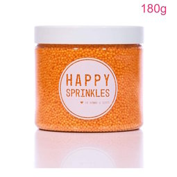 View the 180g ORANGE 100s & 1000s / Non Pareils mini sugar pearl sprinkles online at Cake Stuff