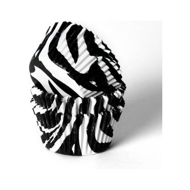 View the Black & White Zebra Stripes MINI premium cupcake baking cases - pk 50 online at Cake Stuff