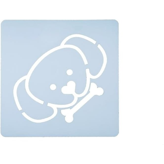 View the dog / puppy face design icing stencil online at Cake Stuff