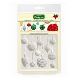 View the CHRISTMAS BAUBLES design mat silicone icing mould online at Cake Stuff