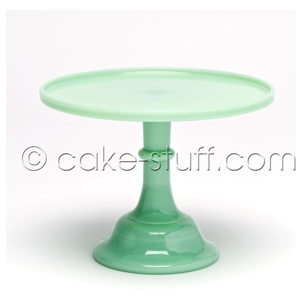 "View the 10"" milk glass cake pedestal stand - Jadeite Green online at Cake Stuff"