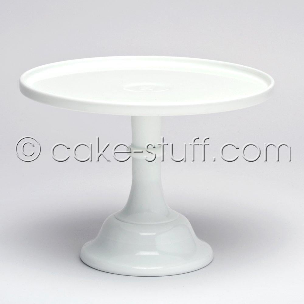 "View the 10"" milk glass cake pedestal stand - milk white online at Cake Stuff"