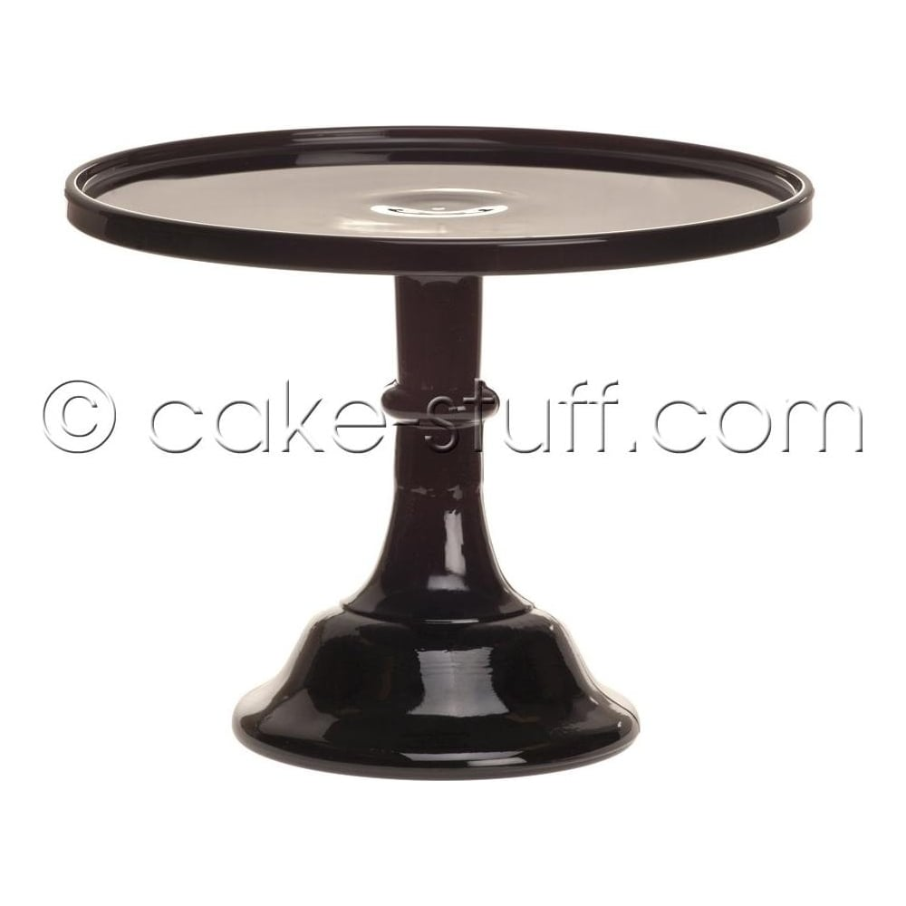 "View the 10"" milk glass cake pedestal stand - Raspberry Black online at Cake Stuff"