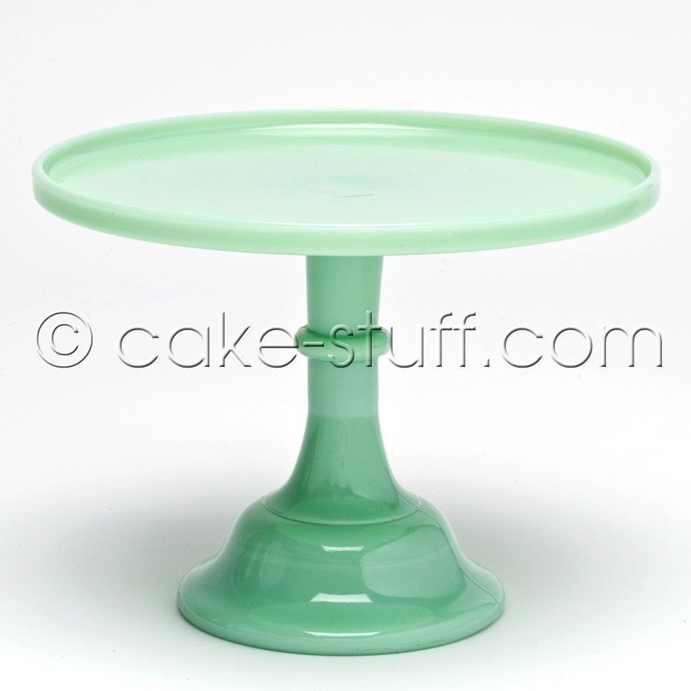 "View the 12"" milk glass cake pedestal stand - Jadeite Green online at Cake Stuff"