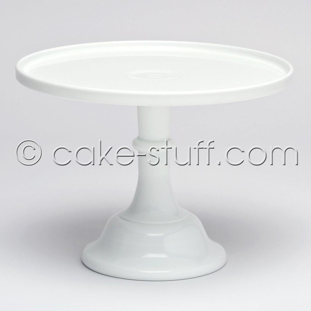 "View the 12"" milk glass cake pedestal stand - milk white online at Cake Stuff"