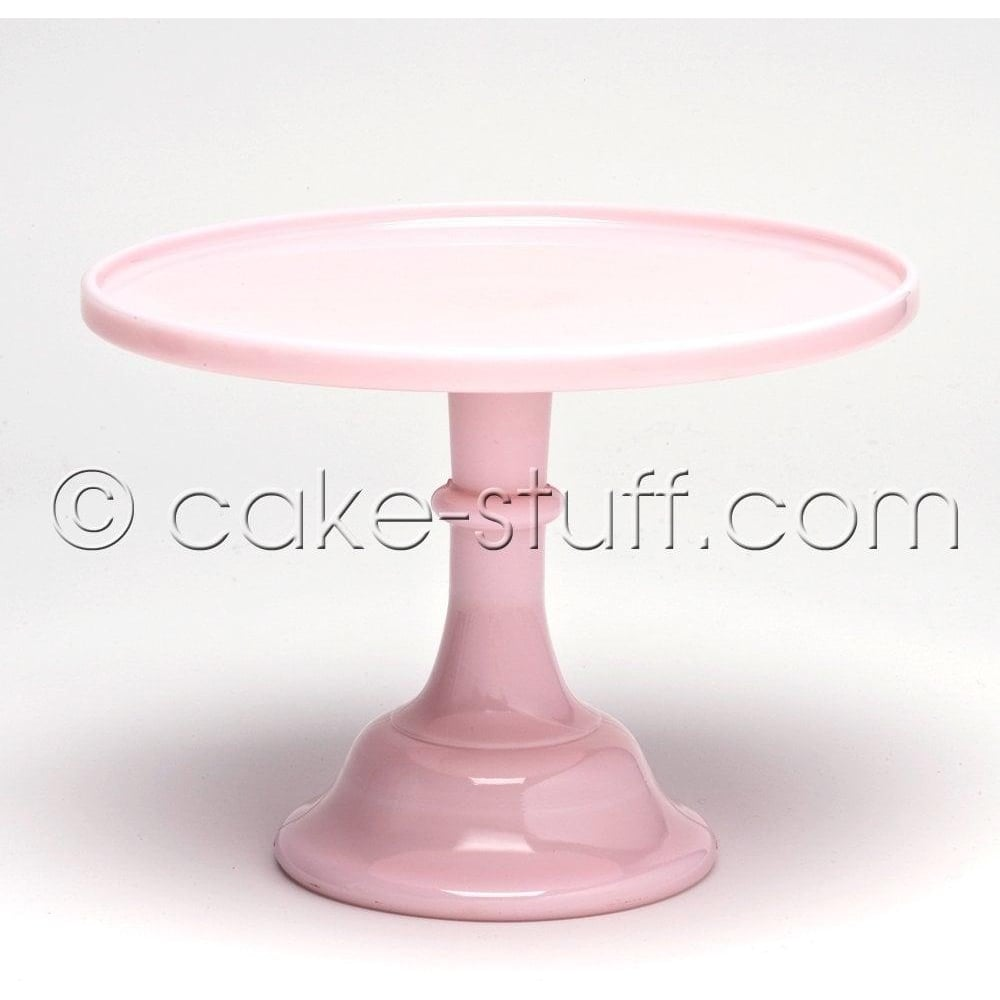 "View the 6"" milk glass cake pedestal stand - Baby Pink Crown Tuscan online at Cake Stuff"
