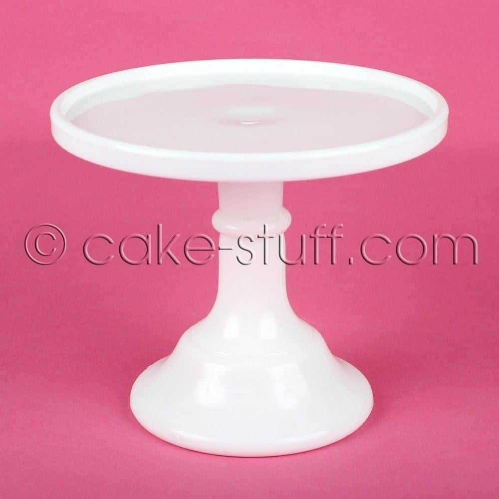 "View the 6"" milk glass cake pedestal stand - milk white online at Cake Stuff"