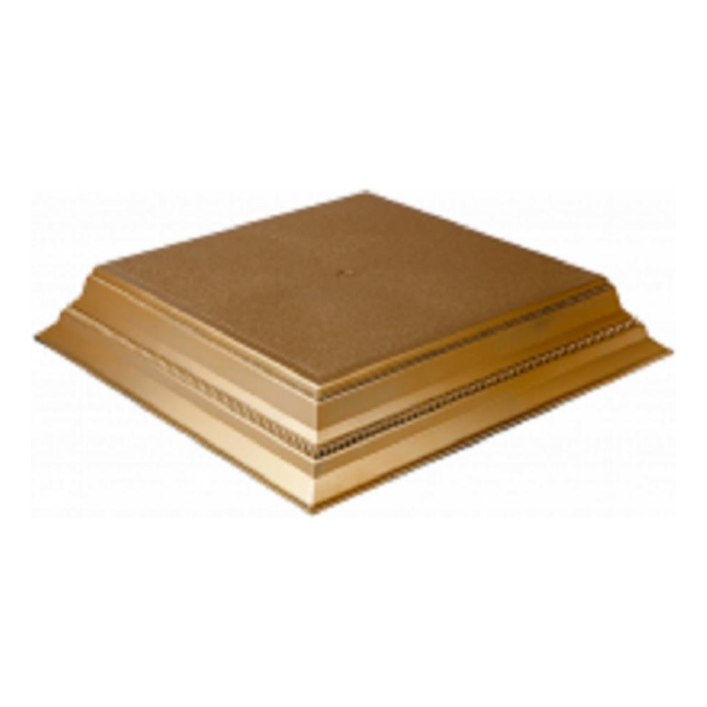 "View the GOLD SATIN / MATT SQUARE 14"" wedding cake stand base plinth online at Cake Stuff"