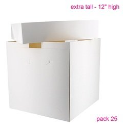 """View the trade pack 25 x 12"""" EXTRA TALL 2 piece cake transportation boxes & lids - 12"""" high online at Cake Stuff"""