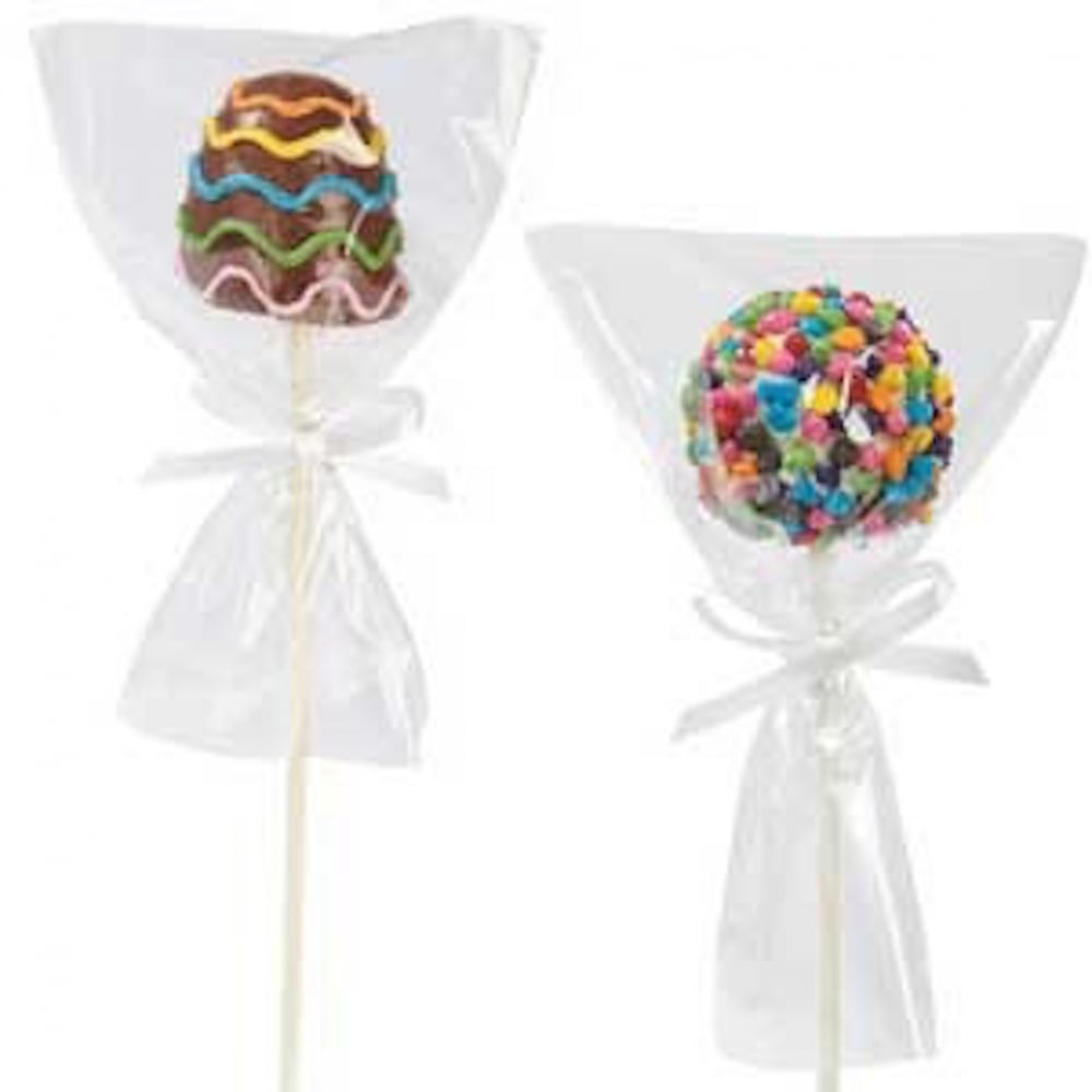 "View the 50 clear cake pop lollipop cookie bags 6"" x 4""  online at Cake Stuff"