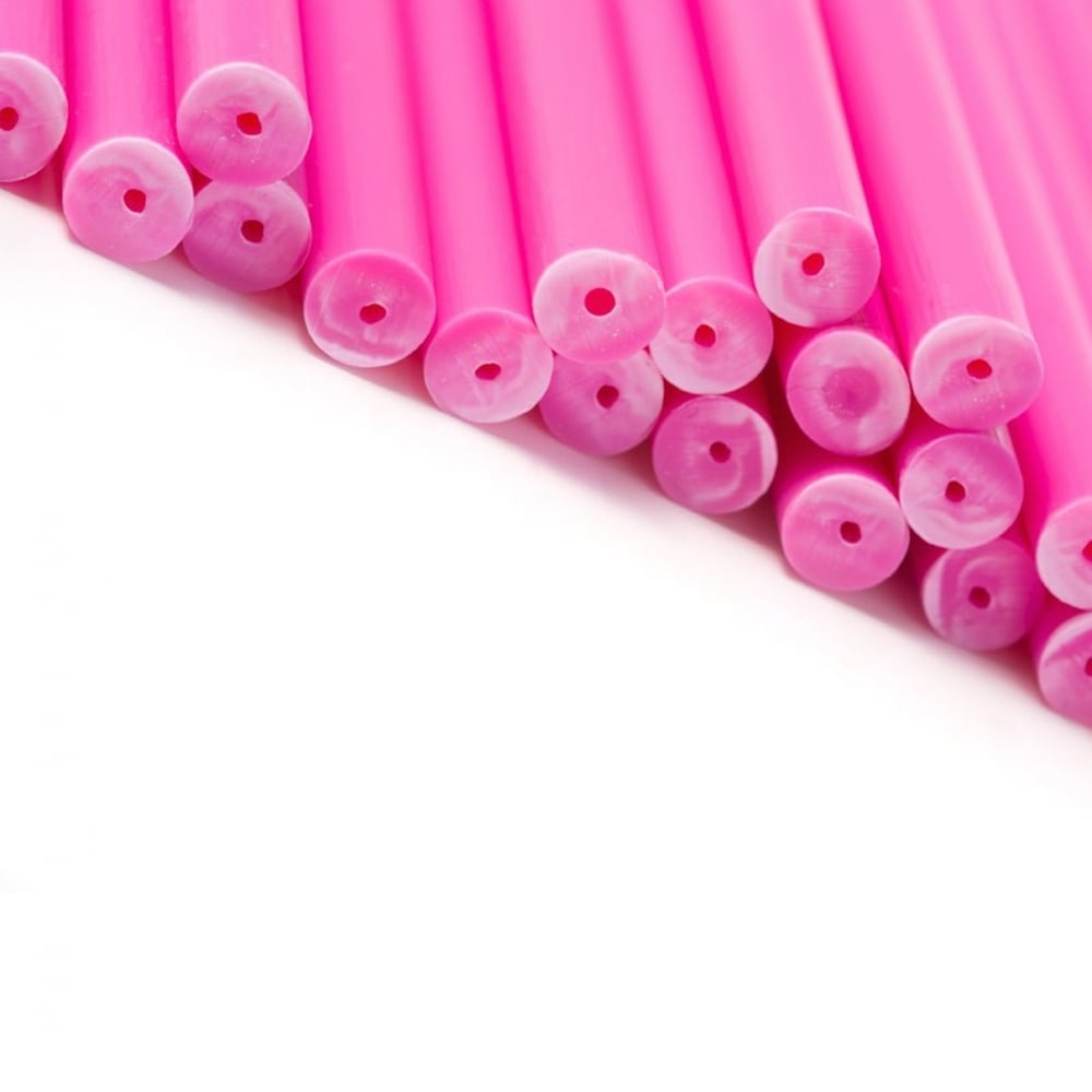 "View the 50 PINK 89mm / 3½"" plastic cake pop sticks online at Cake Stuff"