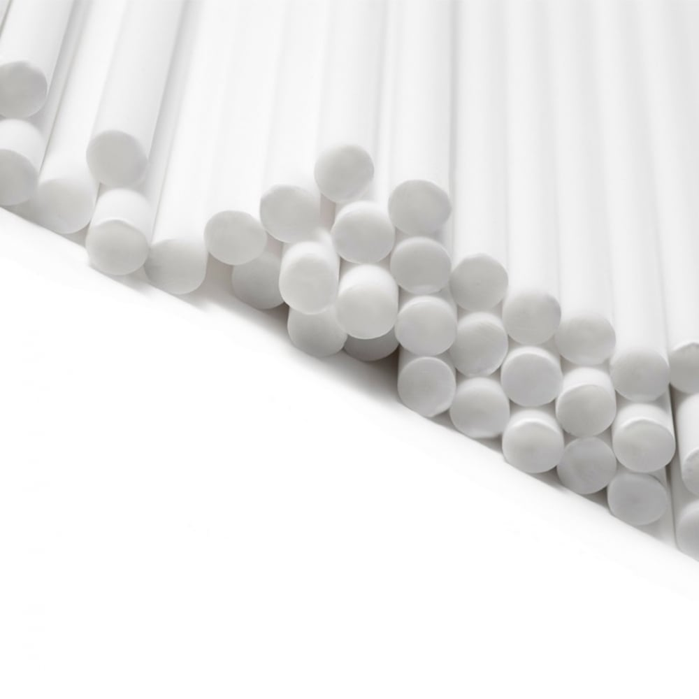 "View the 50 WHITE 190mm / 7½"" plastic cake pop sticks online at Cake Stuff"