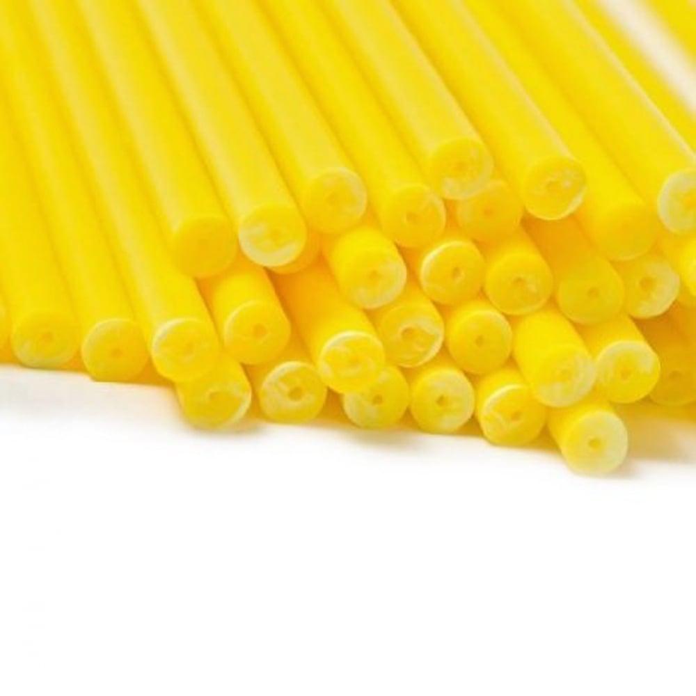 "View the 50 YELLOW 114mm / 4½"" plastic cake pop sticks online at Cake Stuff"