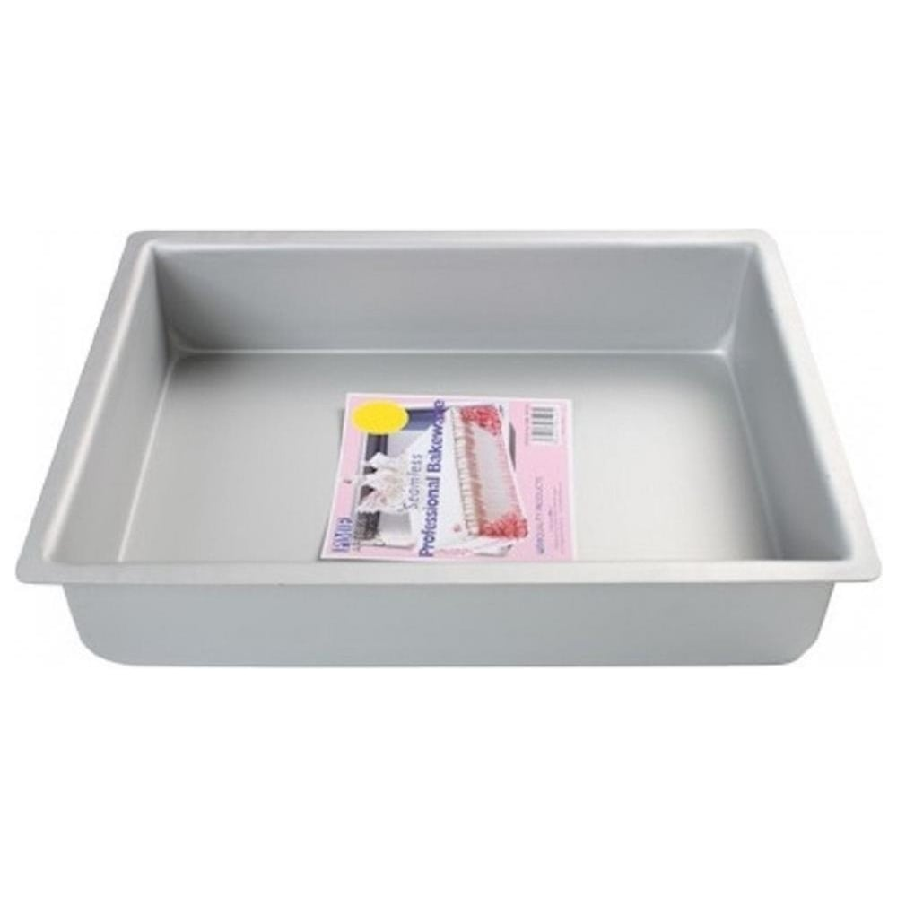 "View the 16"" x 12"" oblong rectangular slab seamless professional cake tin pan online at Cake Stuff"