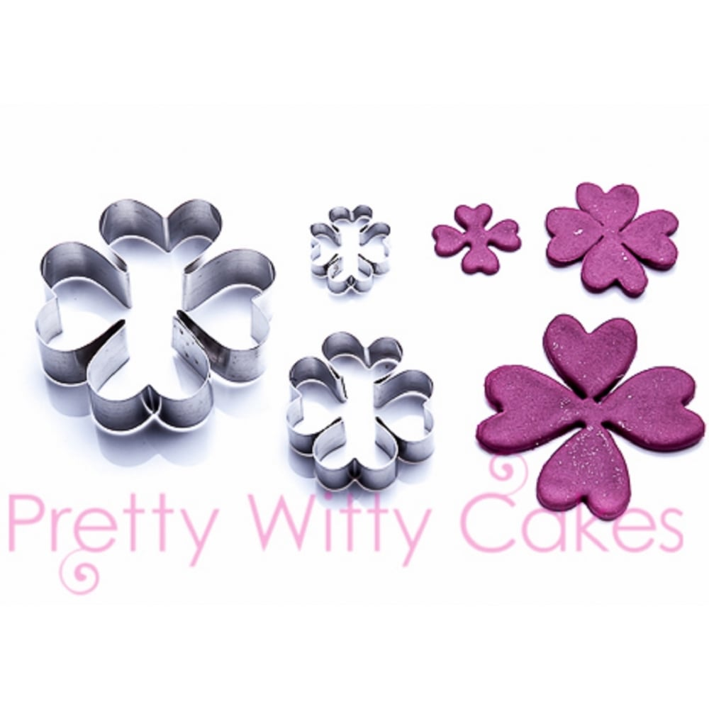 View the HEART SHAPED FLOWERS 3 pc stainless steel icing cutter set online at Cake Stuff